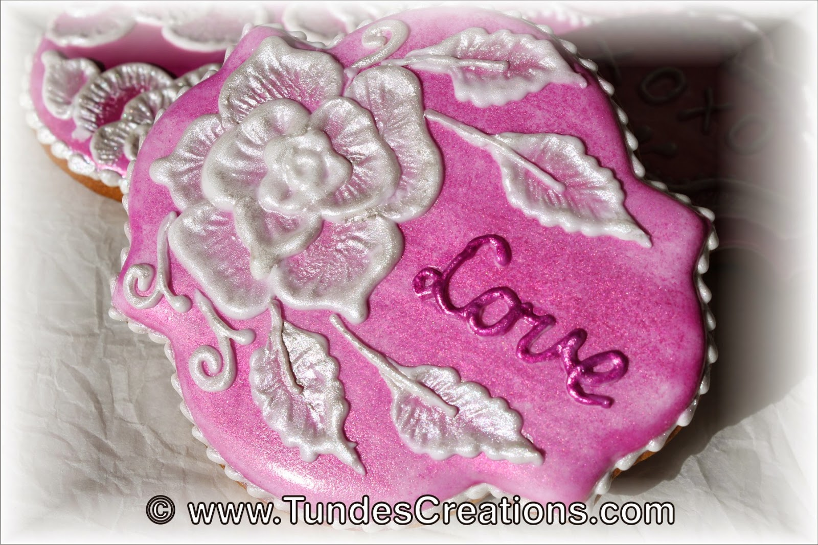 Valentine's cookies with brush embroidery and natural food colors