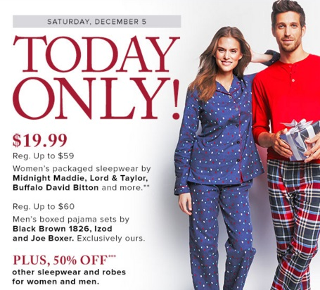 Hudson's Bay Women\s & Men's Packaged PJs $19.99 + 50% Off Sleepwear & Robes