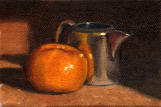 Oil painting of a mandarine beside a silver-plated milk jug.