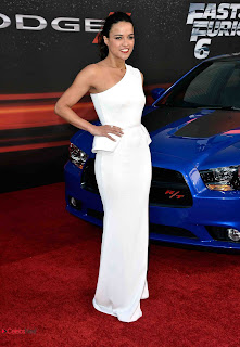 Michelle Rodriguez Pictures in White One Shoulder Dress at