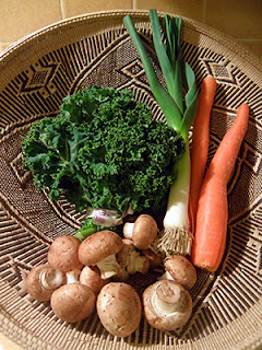 Basket of Kale, Carrots, Leek, and Mushrooms