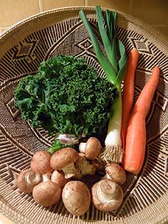 Basket of Kale, Carrots, Leek, and Mushrooms