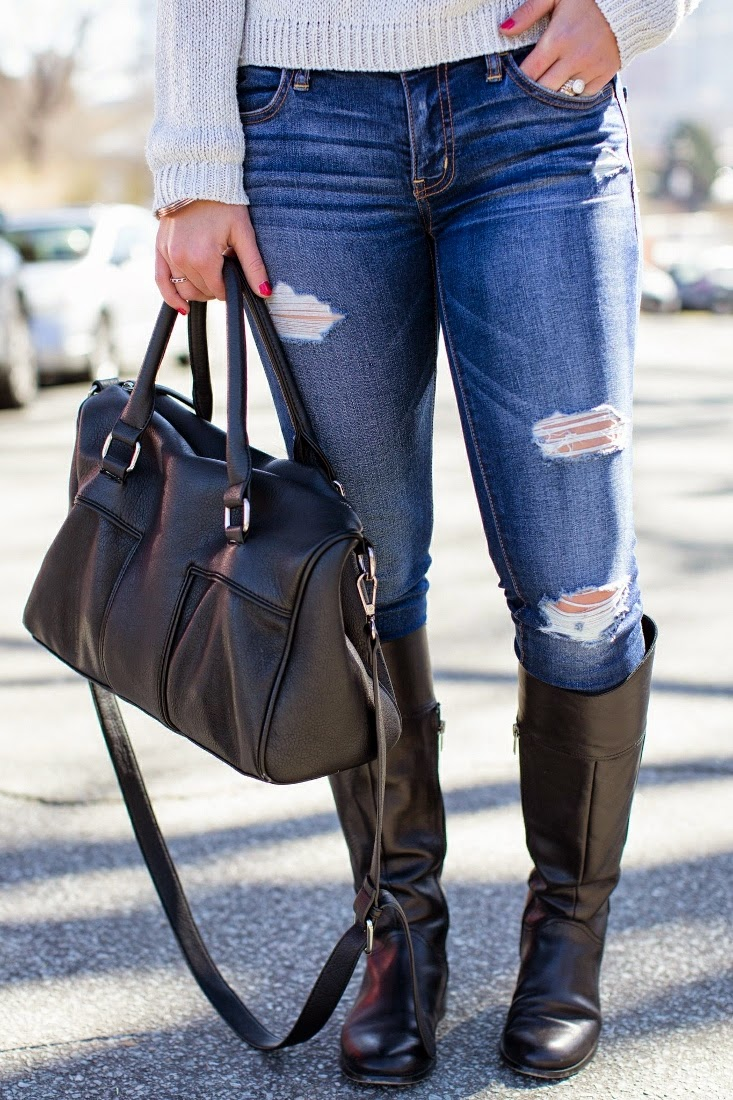 Destroyed Skinny Jean with Riding Boot