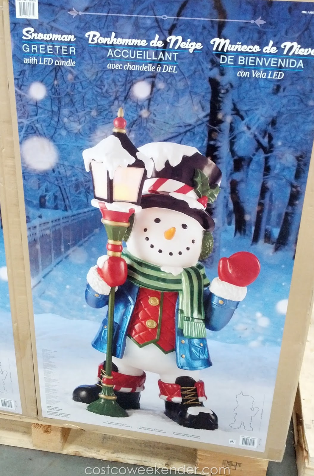 """41"""" Snowman Greeter with LED Candle"""
