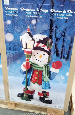 Not enough snow? No problem with the Snowman Greeter with LED Lantern Candle