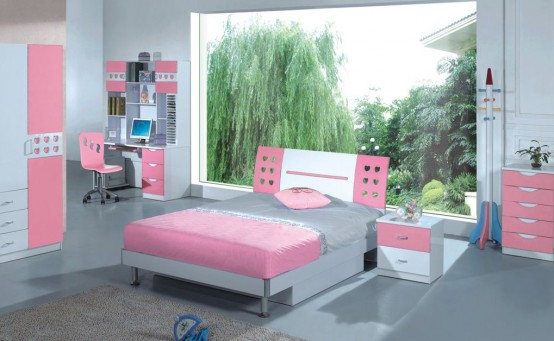 House designs 15 good ideas for girls pink bedroom for Girls pink bedroom designs