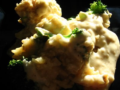 Brown Rice and Blue Cheese Gratin with Cauliflower and Broccoli