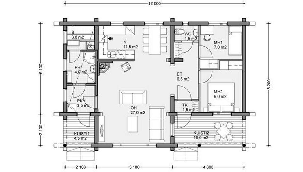 Bungalow house plans timber frame houses for Sauna design plans