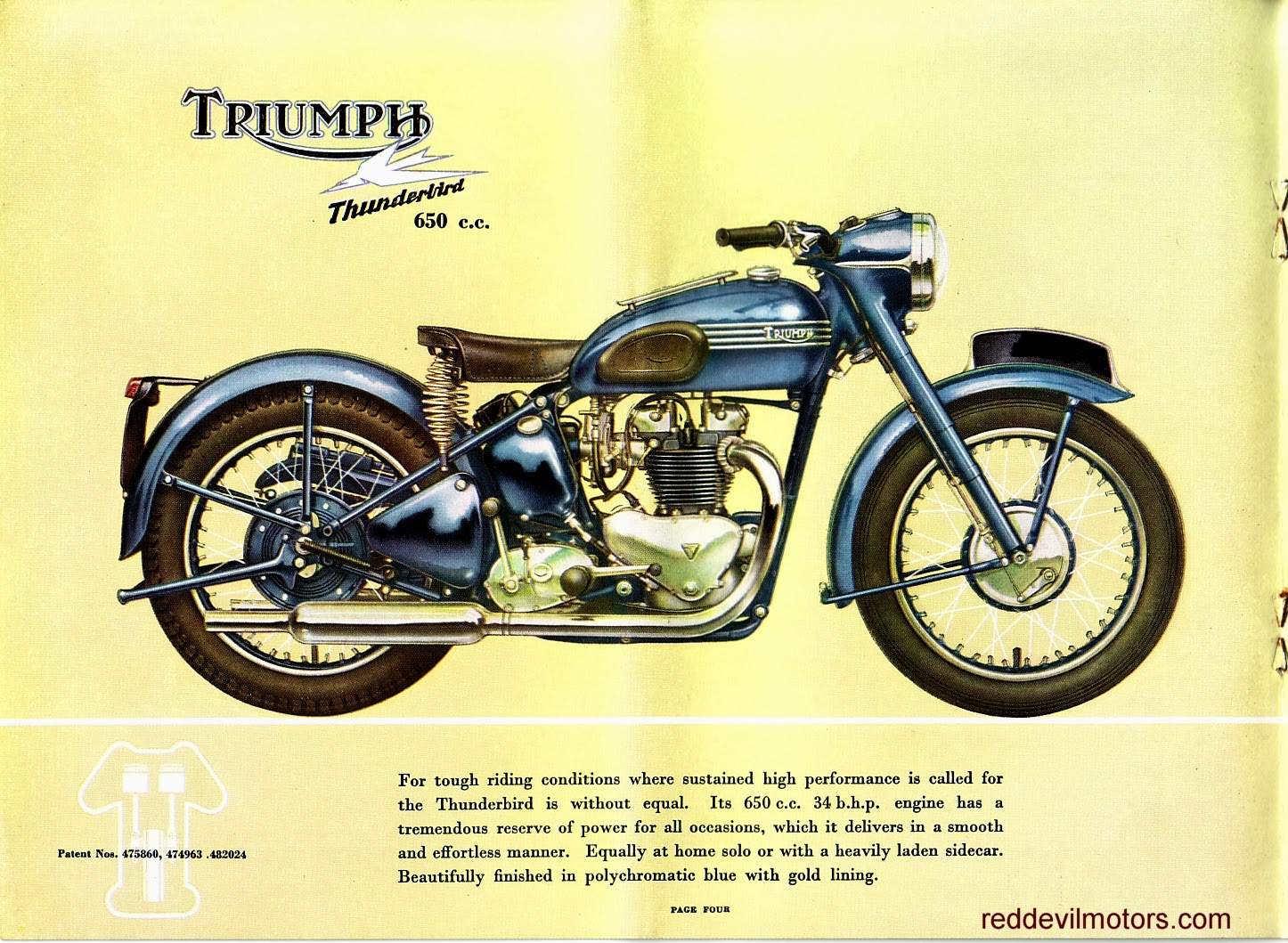 Vincent motorcycle brochure 1952 front cover - Triumph Brochure 1952 Page 5