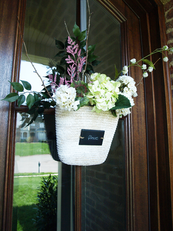 Front door flower basket how to less than perfect life Spring flower arrangements for front door