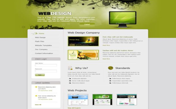 Floral Green Jquery Free CSS HTML Website Template