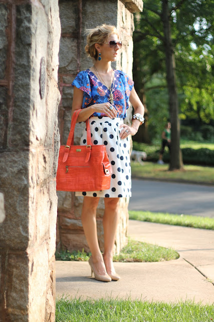 Ann Roth Shoes ODBF Tote, J. Crew Big Shot Dot Skirt, Anthropologie Shirt, Steve Madden Nude Pumps, Blinde Sunglasses, Bauble Bar Boho Drops