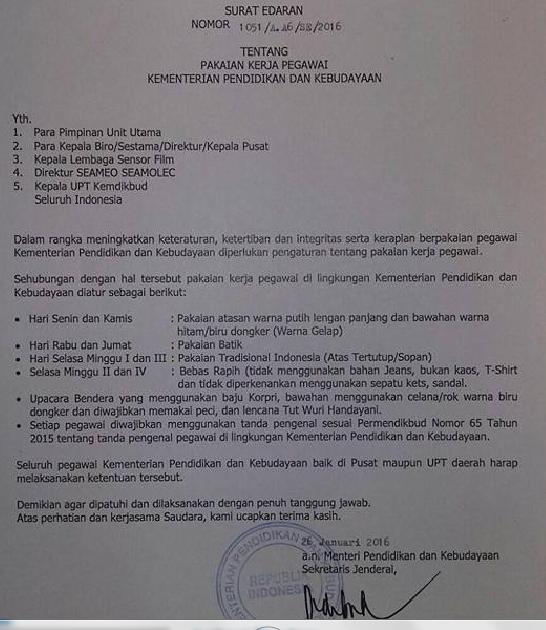 gamabr surat edaran perubahan Pakaian dinas PNS 2016