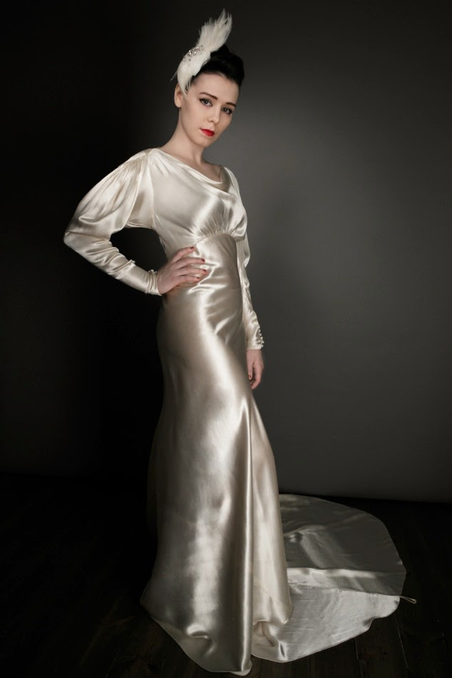 Glamorous Gold Satin Original 1930s Wedding Dress GBP1250 Incl Slip