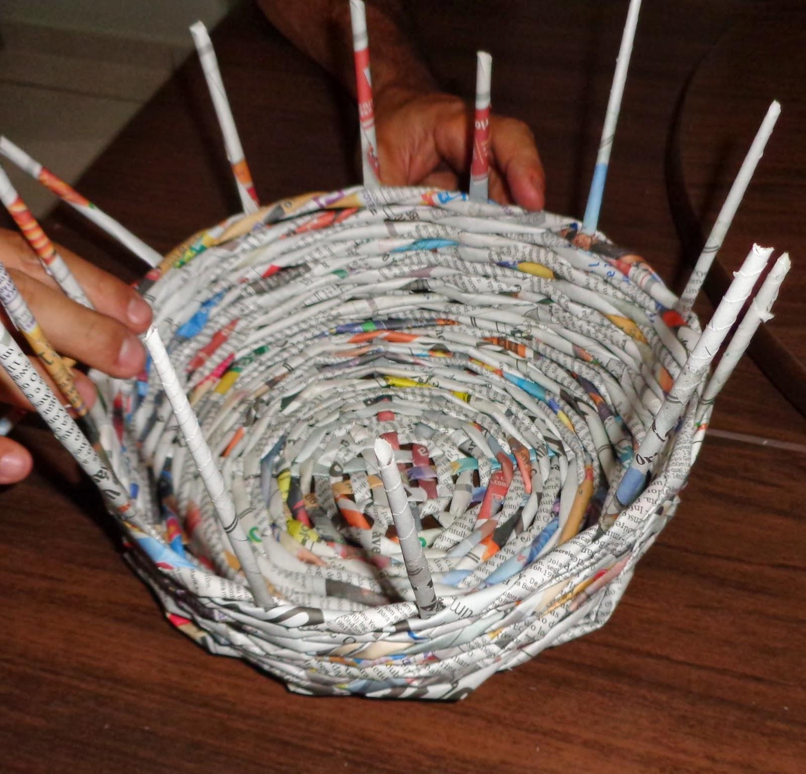 Artesanato Folclore ~ Dica virtual online Como fazer cesta redonda com jornal