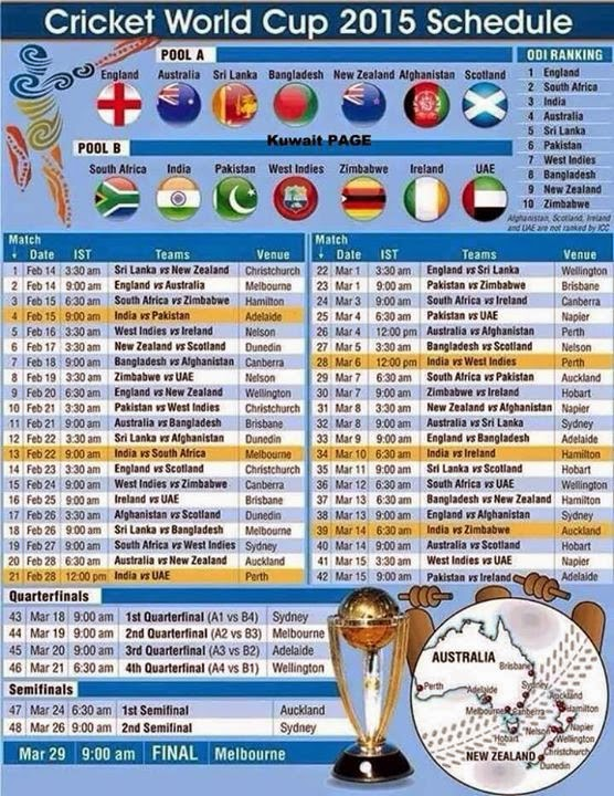 Cricket World Cup 2015 Schedule Welcome to Recharge Now