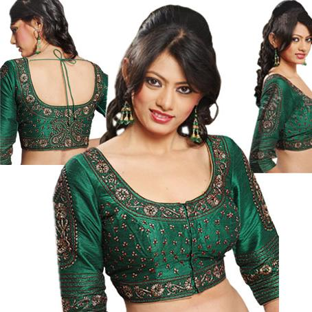 latest saree 2013 readymade blouse design for net saree