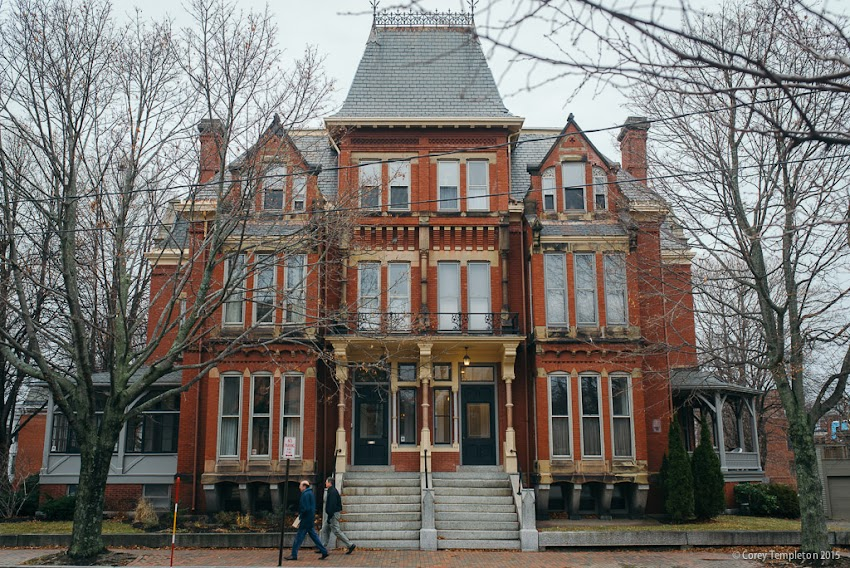 Portland, Maine November 2015 photo by Corey Templeton. Beautiful old building at 119 Pine Street in the West End built in 1876 and designed by Francis H. Fassett.