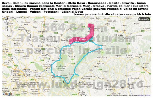 traseu cicloturism - turism pe bicicleta in Romania - Deva - Calan - cu masina pana la Bautar - orase Otelu Rosu, Caransebes, Resita - Oravita, Anina - sat de frontiera Bazias - clisura Dunarii (Cazanele Mari si Cazanele Mici) - orasul Orsova - Portile de Fier I dus intors - orasul statiune Baile Herculane - Parcul National Domogled Valea Cernei (lacurile Prisaca si Valea lui Iovan) - Cheile Corcoaiei - orasele Uricani, Vulcan, Petrosani si retur Calan si Deva