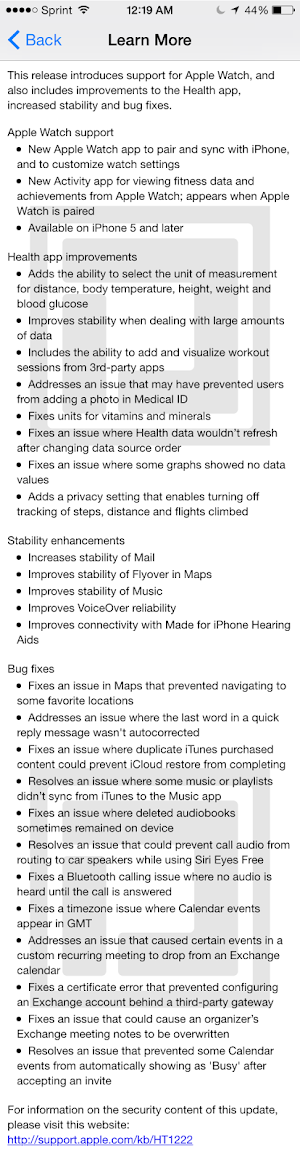 Apple iOS 8.2 changelog