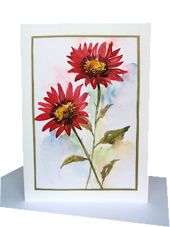 red,asters,daisies,two,flower,pair,wallart,flowerpower,watercolour,aquarelle,diy