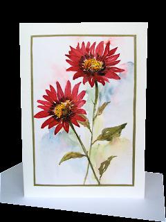 red,asters,daisies,two,flower,pair,wallart,flowerpower,watercolour,aquarelle,diy