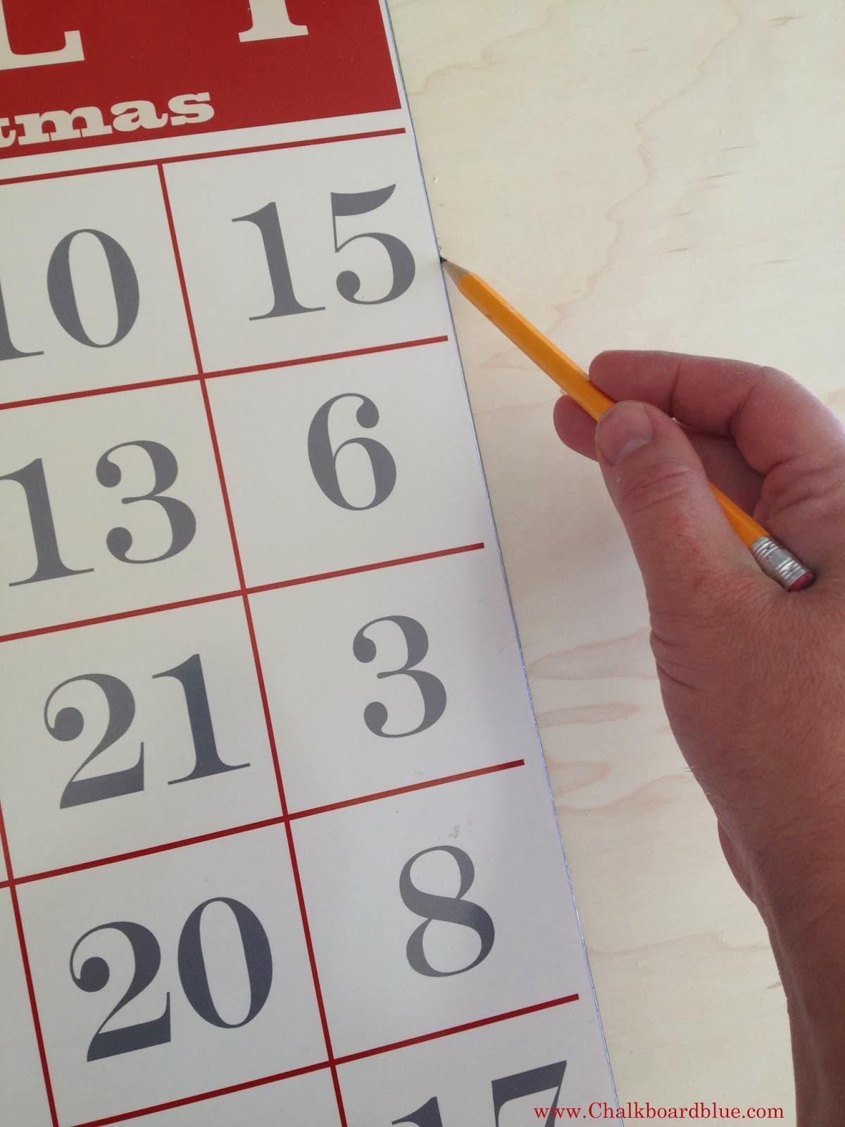 Chalkboard Blue Magnetic Christmas Countdown Bingo