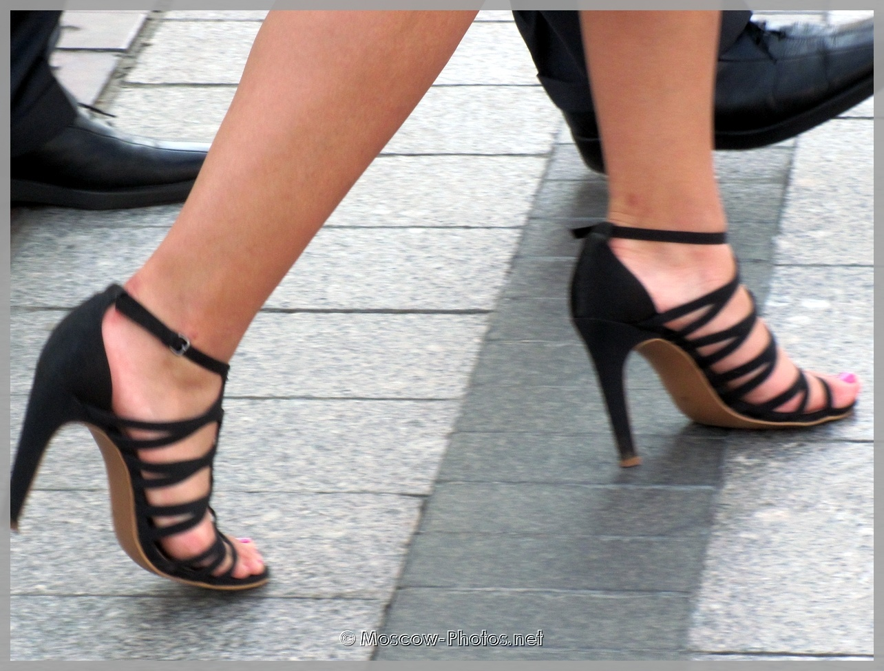 Black Braided High Heels Shoes
