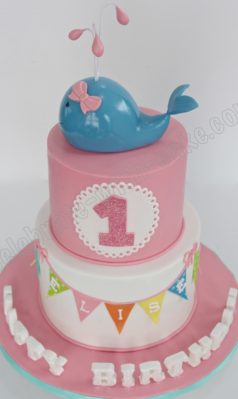 Birthday Cake Images For Email : Celebrate with Cake!: 1st Birthday Baby Whale Tier Cake