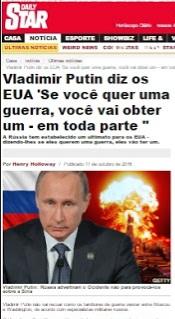 """' SE OS EUA QUEREM GUERRA, TERÃO UMA EM TODA PARTE """"- Diz Putin"""