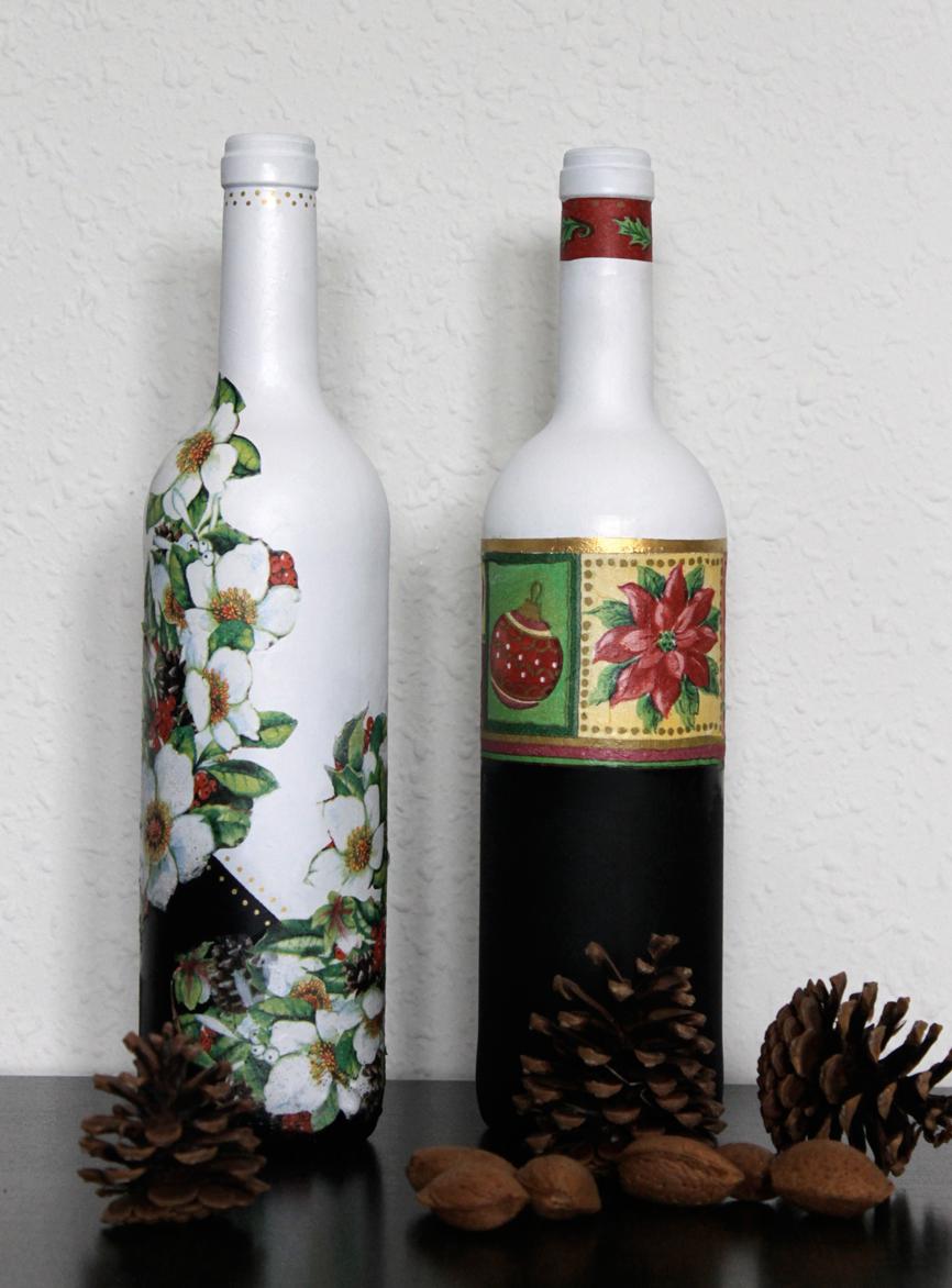 Ekeyart botellas decoradas para navidad for Botellas de vidrio decoradas para navidad