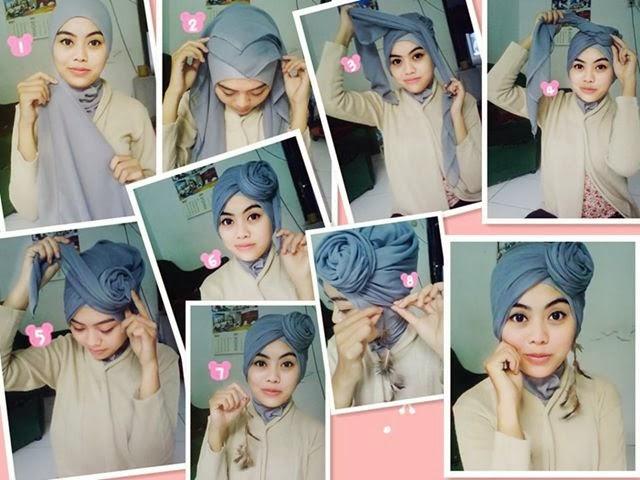 jilbab paris menjadi segitiga Pasang bagian ujung dari segitiga jilbab