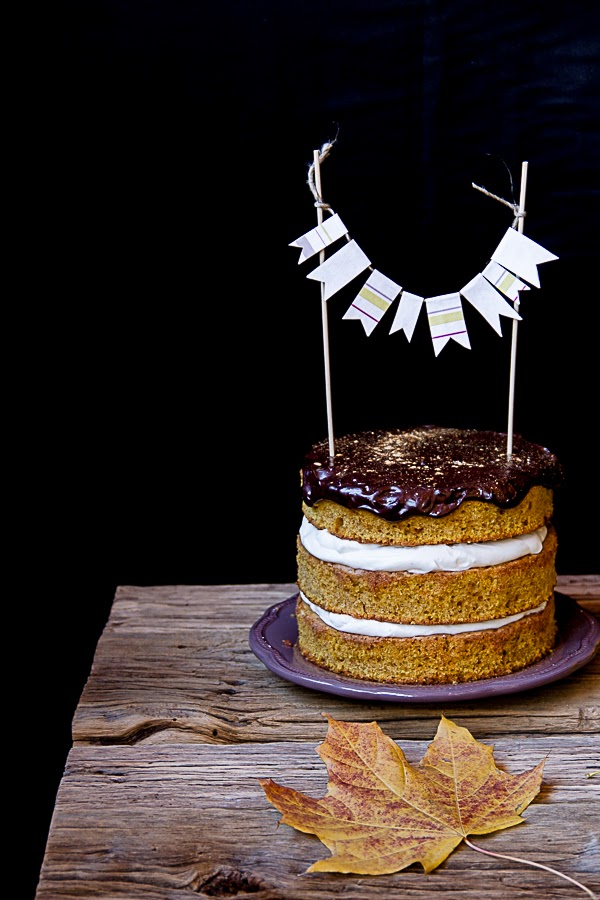 Pumpkin Cake with Mascarpone Frosting & Chocolate Gahache