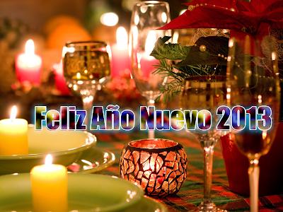 Cena de Navidad con mensaje Feliz Año Nuevo 2013
