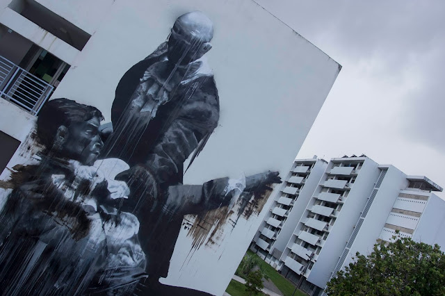 """San Juan Fight Club"" New Street Art By Conor Harrington In Puerto Rico For Los Muros Hablan 2013. 1"