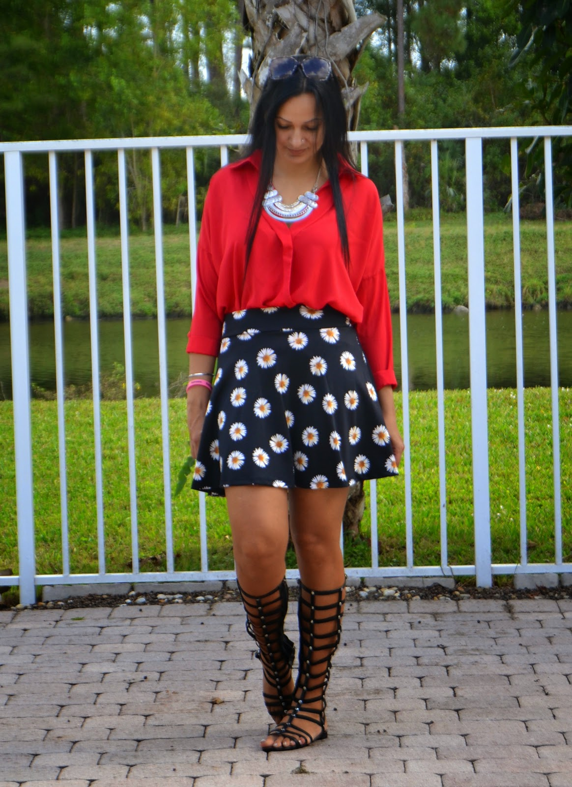Valentines Day Outfit statement necklace skater skirt gladiator sandals www.sandysandhu.co