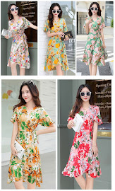 2017 5-Design Fresh Summer Floral Print Trumpet Sleeve Knee Length Dress