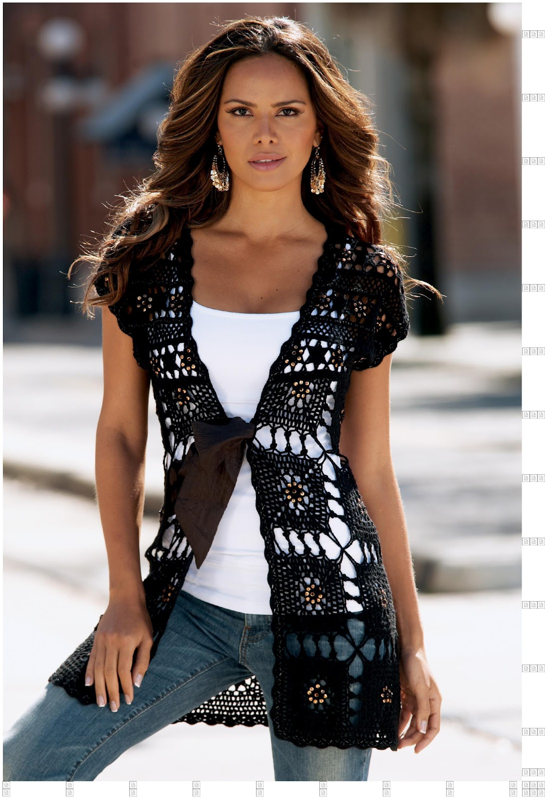 Одежда самого высокого качества жилетка из мотивов крючком схемы только у нас.