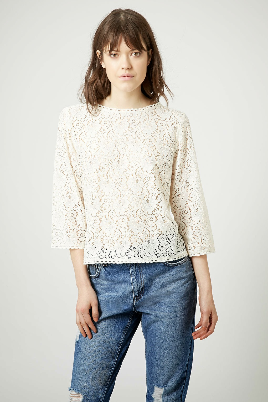 topshop white lace top, white lace long sleeved top