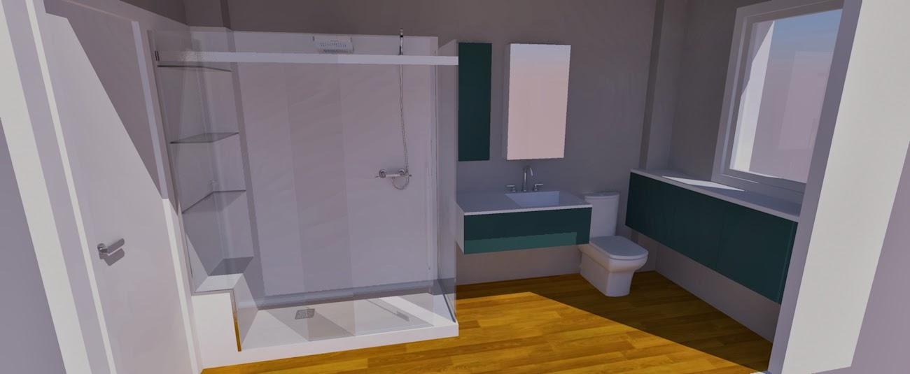 Los hogares que habitamos proyecto renderizado ba o m carmen soluci n azul plomizo grises - Mueble bano estrecho ...