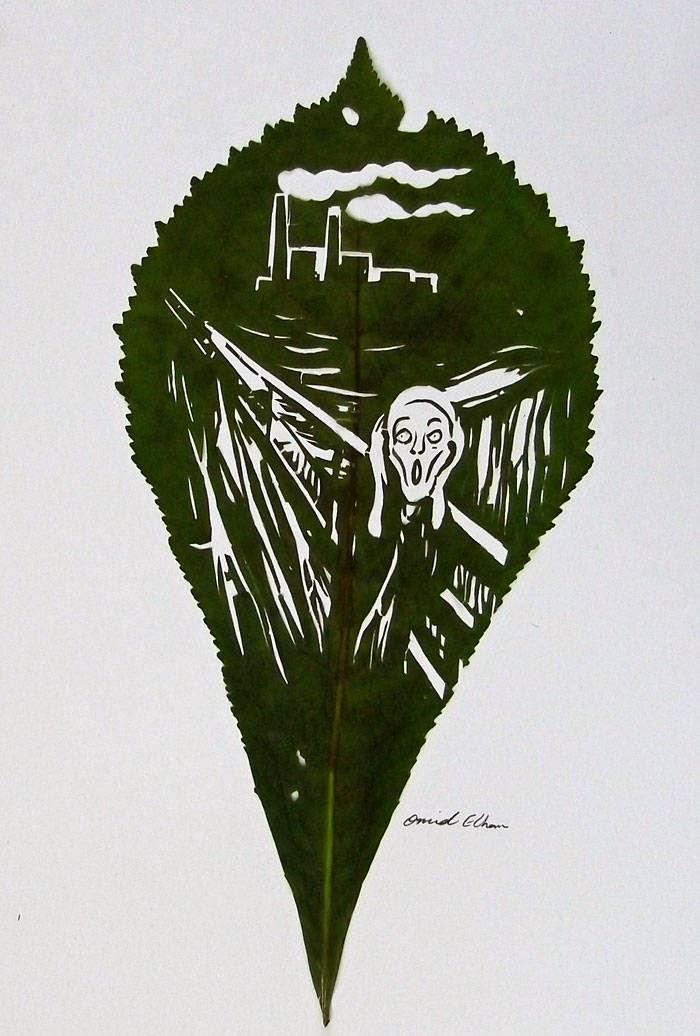 رسم على ورقة شجر خضراء