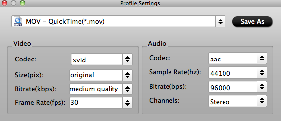 QuickTime Video Settings