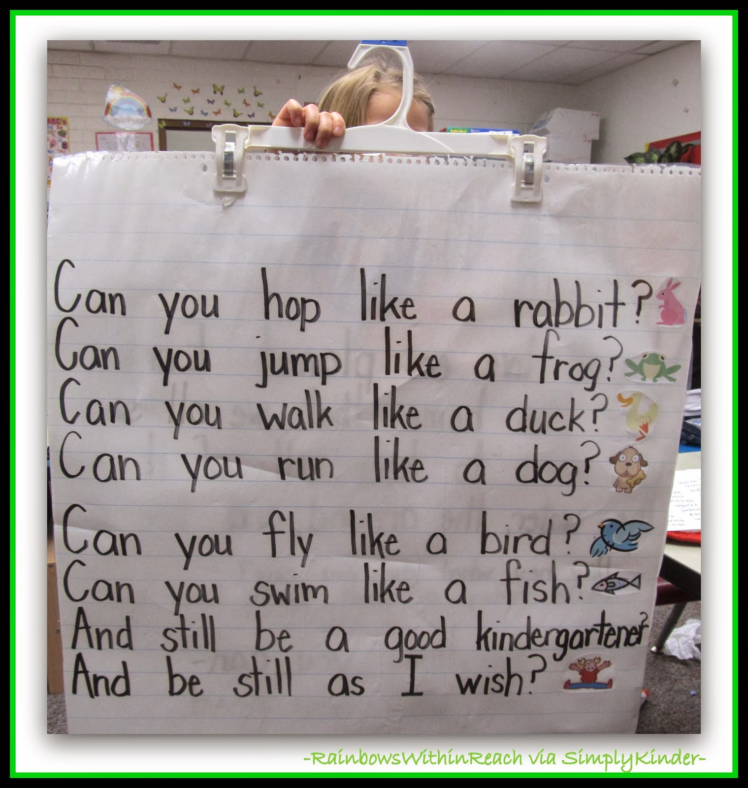 Action Anchor Chart for Kindergarten from RainbowsWithinReach via Simply Kinder