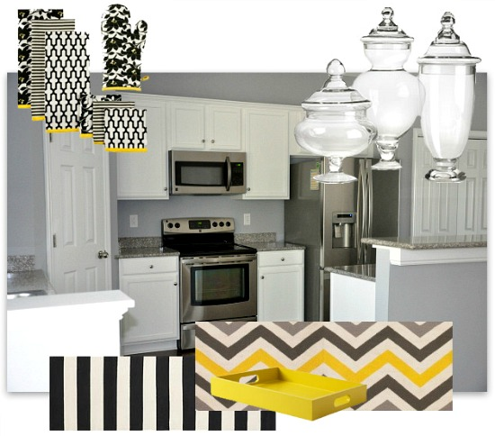 Kitchen organization update layering function before form Yellow and gray kitchen decor