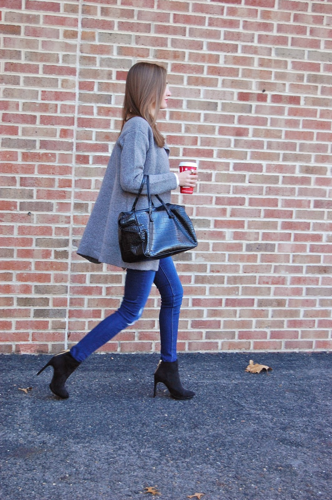 Wearing Loft Coatigan, Loft Two in One Top, Zara Suede Platform Booties