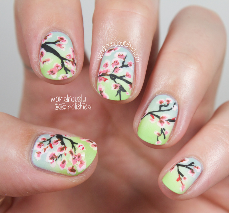 Wondrously polished the digital dozen does countries cultures the digital dozen does countries cultures day 2 cherry blossom nail art prinsesfo Gallery