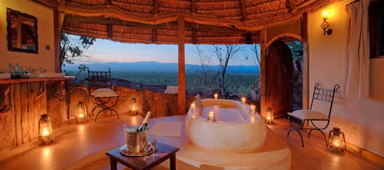 Safari Fusion blog | Bath with a view | Bringing the outdoors in, safari style at Elsa's Private House, Meru National Park Kenya