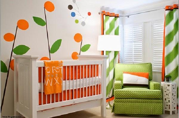 Chambre bébé garçon moderne vert et orange