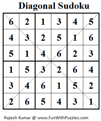 Diagonal Sudoku (Mini Sudoku Series #17) Solution