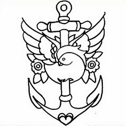 Anchor and sparrow tattoo stencil